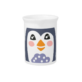 Penguin With Party Attributes Girly Stylized Funky Pitcher
