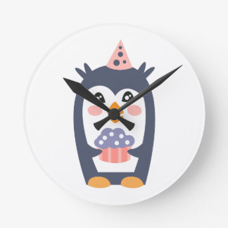 Penguin With Party Attributes Girly Stylized Funky Round Clock