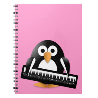Penguin with piano spiral notebooks
