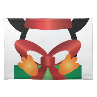 Penguin with Santa Hat on Present Illustration Placemat
