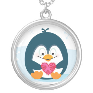 "PENGUIN ""you warm my heart"" Silver Plated Necklace"