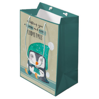 Penguing Knitting Warm and Cozy Christmas Medium Medium Gift Bag