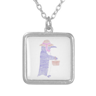 Penguing With a Basket Silver Plated Necklace