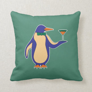 "Penguins and Martinis 16""x16"" Pillow - Green"