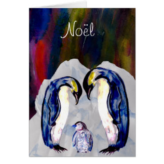 Penguins and northern light Noel Christmas Greeting Card