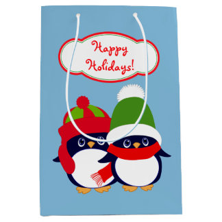 Penguins and Owls Holiday Medium Gift Bag