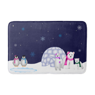 Penguins and Polar Bears Bath Mat