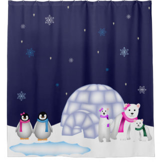 Penguins and Polar Bears Christmas Shower Curtain