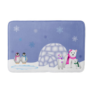 Penguins and Polar Bears Day Time Bath Mat Bath Mats