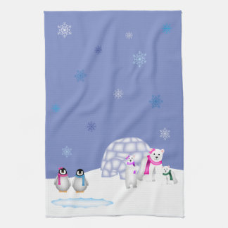 Penguins and Polar Bears Day Time Towel