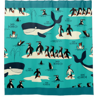 Penguins and Whales Shower Curtain