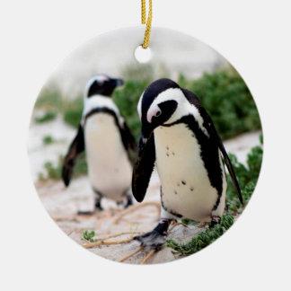 Penguins at the beach ceramic ornament