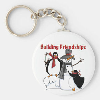 Penguins Building Friendship tshirts and Gifts Basic Round Button Key Ring