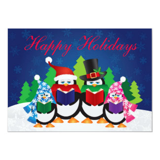 "Penguins Christmas Carolers at Night Invitation 5"" X 7"" Invitation Card"