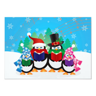 Penguins Christmas Carolers with Hats and Scarfs 13 Cm X 18 Cm Invitation Card