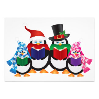 Penguins Christmas Carolers with Hats and Scarfs Custom Announcement