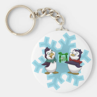 "Penguins ""Cool Yule"" Basic Round Button Key Ring"
