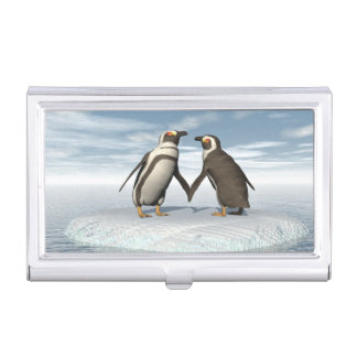 Penguins couple business card holder