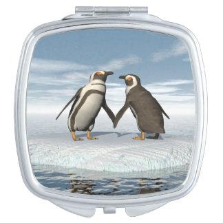 Penguins couple compact mirror