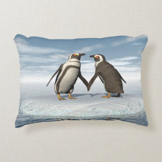 Penguins couple decorative cushion
