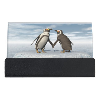 Penguins couple desk business card holder