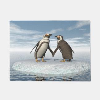 Penguins couple doormat
