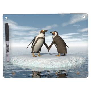 Penguins couple dry erase board with key ring holder