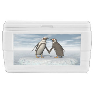Penguins couple ice chest
