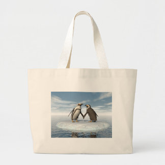 Penguins couple large tote bag