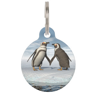 Penguins couple pet name tag