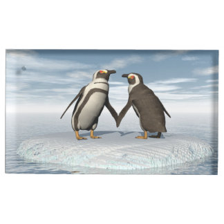 Penguins couple place card holder