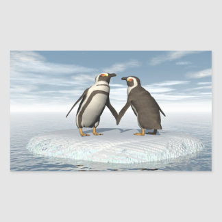 Penguins couple rectangular sticker