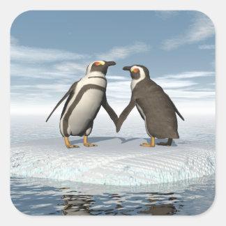 Penguins couple square sticker