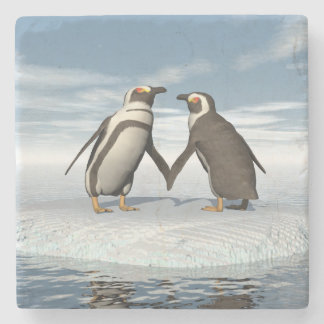 Penguins couple stone coaster