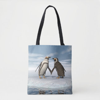 Penguins couple tote bag
