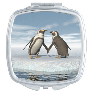 Penguins couple travel mirrors