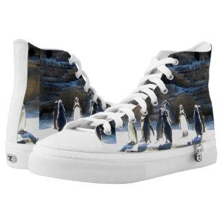 Penguins Designed Hightop Shoe Printed Shoes