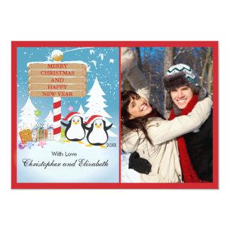 Penguins Happy Couple Holiday Christmas Photo Card