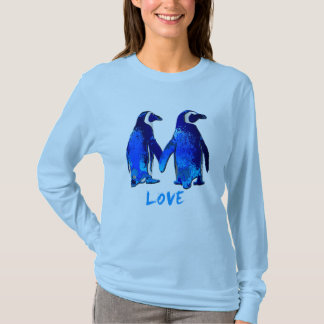 Penguins Holding Hands Love Design T-Shirt