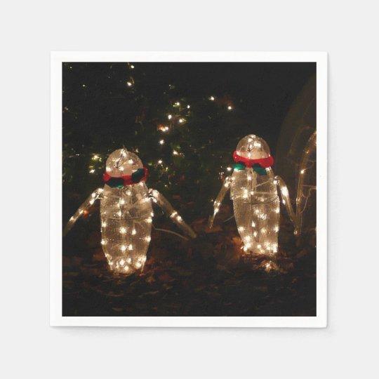 Penguins Holiday Light Display Paper Napkin