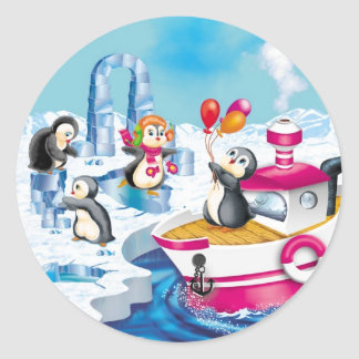 penguins in Antarctica Classic Round Sticker