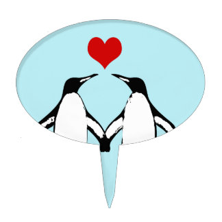 Penguins in love art cake topper