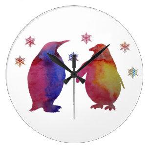 Penguins Large Clock