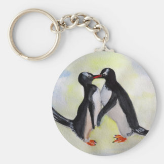 Penguins Love Button Key Ring Basic Round Button Key Ring