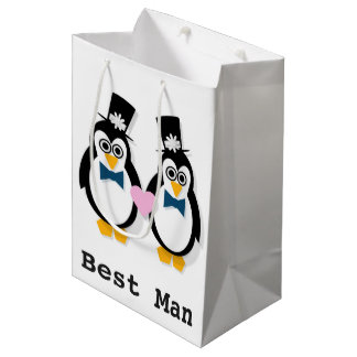 Penguins Mr & Mr Wedding Gift Bag (Customisable)