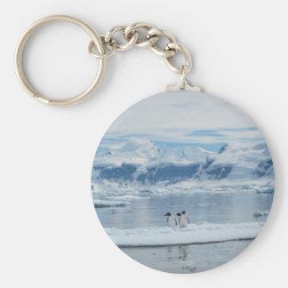 Penguins on an iceberg key ring