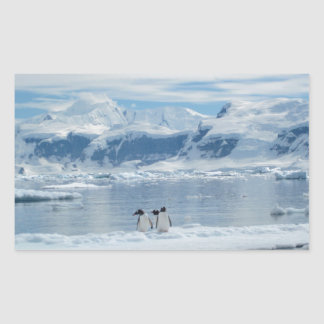 Penguins on an iceberg rectangular sticker