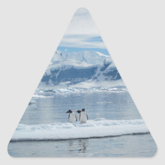 Penguins on an iceberg triangle sticker