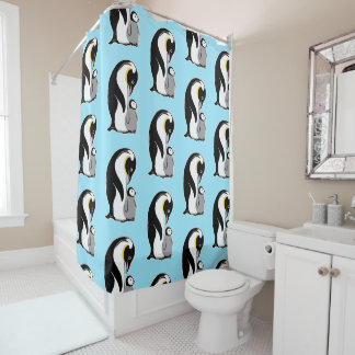 Penguins Pattern Light Blue Shower Curtain