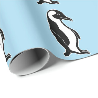 Penguins Pattern Light Blue Wrapping Paper